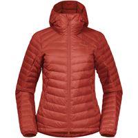 Bergans piumino leggero con cappuccio røros donna rosso