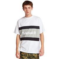 Timberland t-shirt da uomo con logo a blocchi di colore in bianco/grigio bianco/grigio, size l