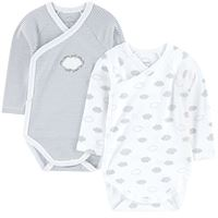 Absorba - pack of 2 crossover organic cotton onesies - unisex - 12 mesi - bianco