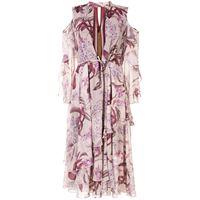 Marchesa Notte cold shoulder ruffle printed dress - toni neutri