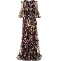 Marchesa Notte abito da sera con ricamo a fiori - viola