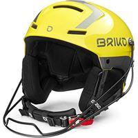 Briko slalom, casco da sci/neve unisex-adulto, giallo lucido-argento, 56 cm