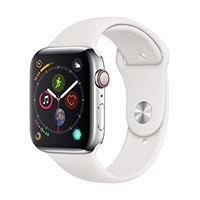 Apple watch series 4 (gps + cellulare) cassa 44 mm in acciaio inossidabile e cinturino sport bianco