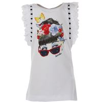Monnalisa t-shirt bambina in outlet, bianco, cotone, 2021, 2y 4y