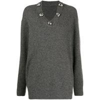 Christopher Kane maglione con scollo a v - grigio
