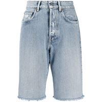Miu Miu shorts denim con effetto vissuto - blu