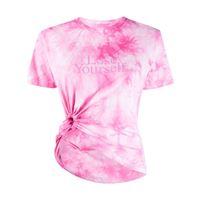 Paco Rabanne t-shirt lose yourself con fantasia tie dye - rosa