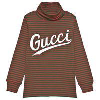 Gucci bambino - maglia a collo alto in cotone con stampa Gucci - bambino - 4 anni - verde