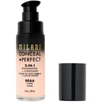 Milani 00aa ivory conceal + perfect 2-in-1 foundation + concealer fondotinta 30ml