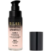 Milani 0a1 alabaster conceal + perfect 2-in-1 foundation + concealer correttore 30ml