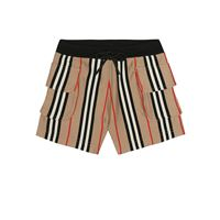 Burberry Kids shorts ines a righe in cotone