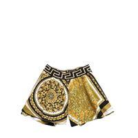 VERSACE shorts in felpa di cotone con stampa barocca