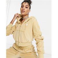 adidas Originals - relaxed risqué - felpa con cappuccio e zip in velour beige-neutro