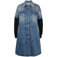 MM6 Maison Margiela cappotto denim con maniche a contrasto - blu