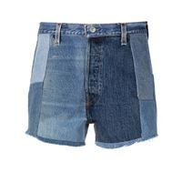 RE/DONE shorts denim patchwork - blu