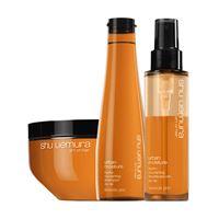 Shu Uemura kit urban moisture shampoo+maschera+trattamento capelli secchi