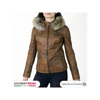 Leather Trend Italy michelina cap - giacca donna in pelle con cappuccio verde invecchiato