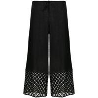 La Perla pantaloni crop con ricamo - nero