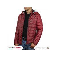 Leather Trend Italy berlino - piumino uomo artigianale in vera pelle bordeaux invecchiato
