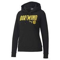 Puma bvb ftblcore wording hoody w pullover da donna, donna, pullover, 758098, puma black-cyber yellow, xl