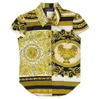 Versace Kids camicia a stampa barocco mosaic in cotone