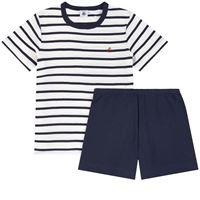 Petit Bateau - bambino - pigiama 2 pezzi a righe - 4 anni - ecru - avorio