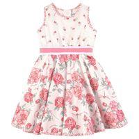 Monnalisa - popeline rose print vestito panna - bambina - 18 mesi - ecru - avorio
