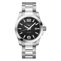 Longines orologio Longines conquest con quadrante nero e bracciale in acciaio