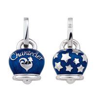 Chantecler Capri ciondolo chantecler campanella media double face in argento e smalto blu perlato