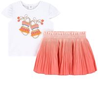 Mayoral - bambina - sandal print set gonna rosa - 12 mesi - rosa
