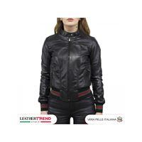 Leather Trend Italy timberly - bomber donna in pelle di agnello nero morbida special