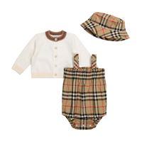 Burberry Kids baby - pagliaccetto, cardigan e cappello in cotone