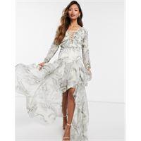 ASOS DESIGN - vestito lungo arricciato in chiffon con dettagli con fettucce in raso-multicolore