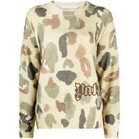 Palm Angels logo-embroidered camouflage-pattern jumper - toni neutri