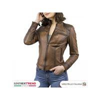 Leather Trend Italy biker donna in pelle 100% artigianale marrone tamponato