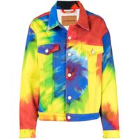 Alexandre Vauthier giacca denim con fantasia tie dye - blu