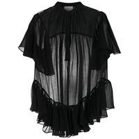 Alexander McQueen blusa semi trasparente con ruches - nero