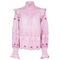 LOVESHACKFANCY blusa kassie in cotone con ricami