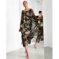 ASOS EDITION - vestito lungo oversize con scollo quadrato e stampa boschiva-multicolore