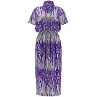 DRIES VAN NOTEN abito lungo con paillettes s viola, argento seta