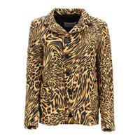 MAISON MARGIELA blazer imbottito stampa leopard 38 beige, marrone, nero tecnico