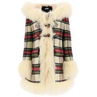 MIU MIU cappotto tartan con mongolia 42 rosso, beige, blu lana, pelliccia
