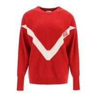 RED VALENTINO pullover con ricamo red xs rosso, bianco lana