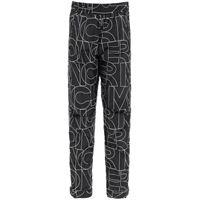 MONCLER GRENOBLE pantalone monogram in nylon imbottito 40 nero, bianco tecnico