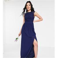 TFNC Tall - vestito lungo da damigella in pizzo aperto sulla schiena blu navy