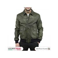 Leather Trend Italy bomber uomo in vera pelle di agnello con bottoni e collo a camicia