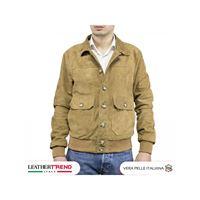 Leather Trend Italy bomber uomo in pelle scamosciata con bottoni e collo a camicia