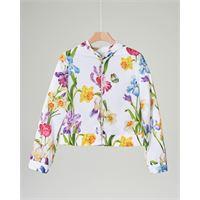 Elsy giacca bianca in fantasia floreale con cappuccio 40-44