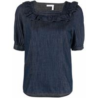 See by Chloé top con ruches - blu