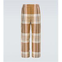 Lemaire pantaloni a quadri in cotone e lino